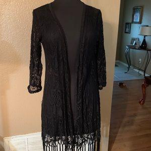 Black lace kimono style jacket
